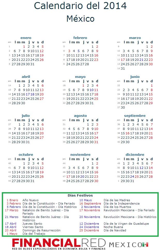 Calendario Mexico 2014