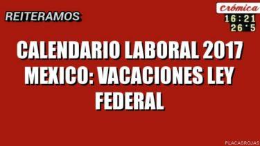 Calendario Laboral 2017 Mexico